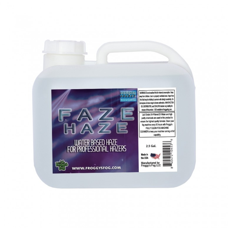 Faze Haze - 2.5 Gallon Square- Professional Water Based Haze Juice - For Antari F-1, F-5, F-7, Chauvet Professional AMHAZE 2 and Martin Compact Hazers