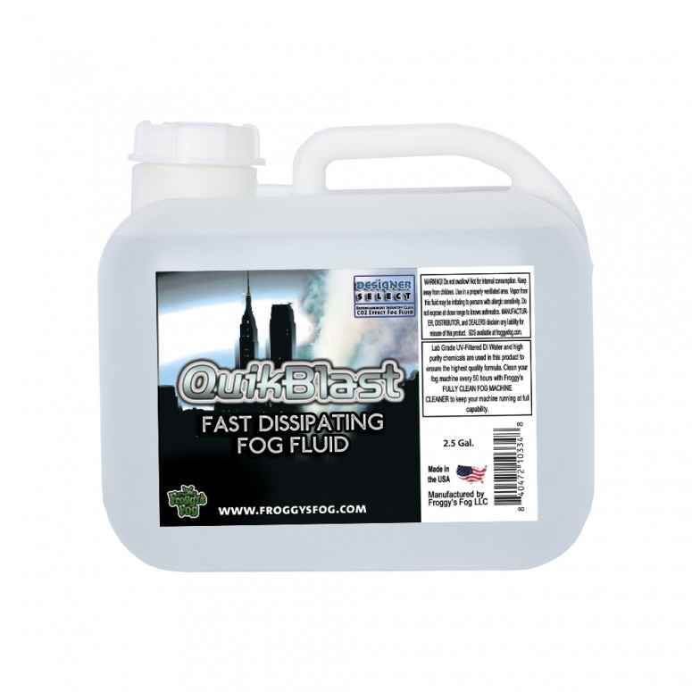 Quikblast® Fog Juice - CO2 Blast Effect Fog Machine Fluid - Best for Chauvet® DJ Geysers - 2.5 Gallon Square