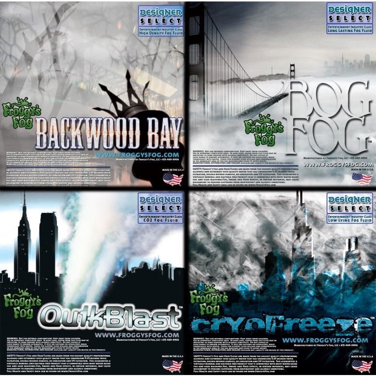 Designer Select 4 Gallon Fog Sampler - 1 Gallon each of Backwood Bay, Bog Fog, Quick Blast, Cryo Freeze