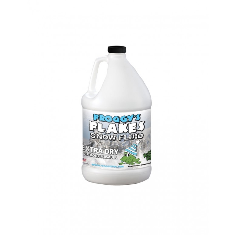 1 Gallon - EXTRA DRY - OUTDOOR FORMULA - Snow Juice Machine Fluid - Froggys Flakes (>30 Foot Float / Drop) Highly Evaporative Formula