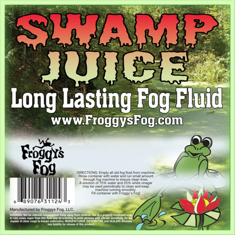 Froggys Fog - Swamp Juice (Extreme Hang Time Longest Lasting Fog Fluid) - Label