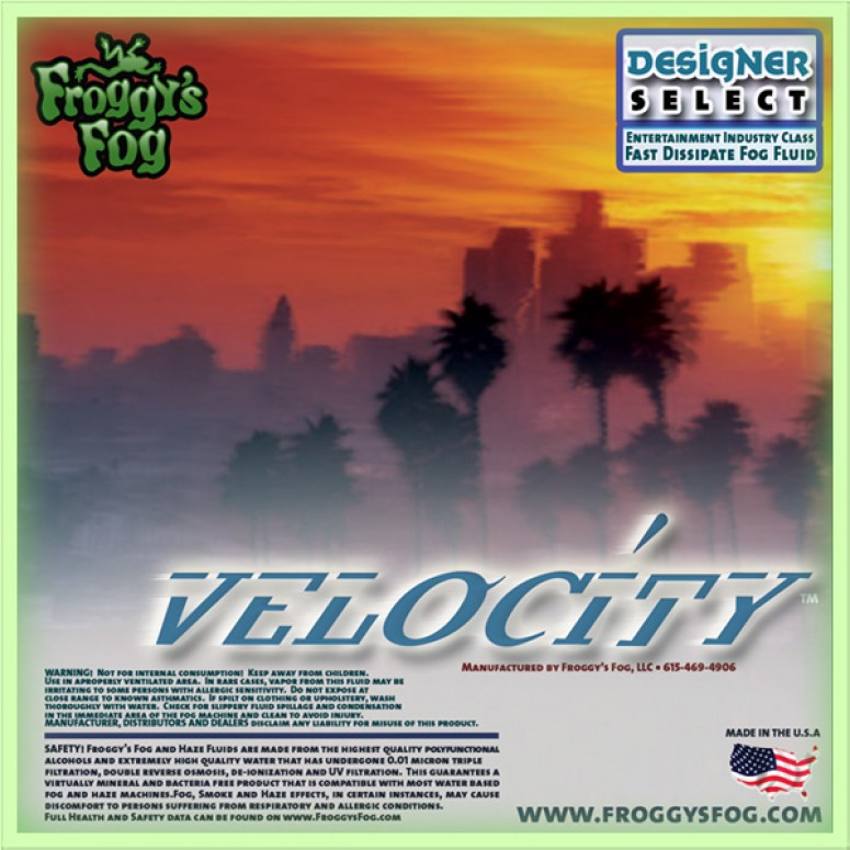 Velocity - Fast Dissipating Fog Machine Fluid - 2.5 Gallon Square Fog Juice