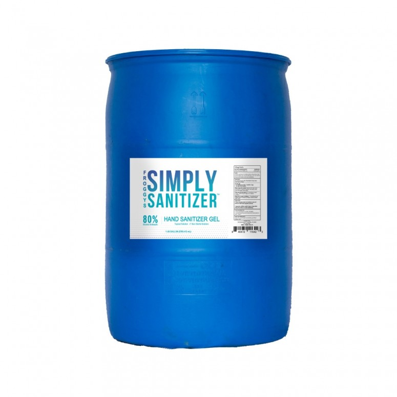 50 Gallon Drum - 70% SCENTED Froggys Simply Sanitizer™ - Gel Hand Rub Formulation