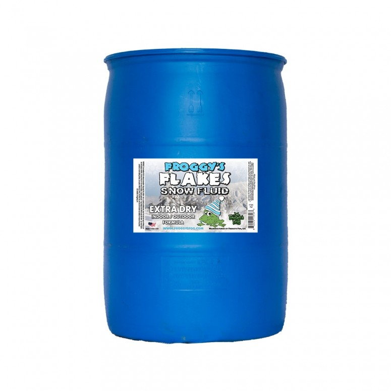 55 Gallon Drum - EXTRA DRY - OUTDOOR FORMULA - Snow Juice Machine Fluid - Froggys Flakes (30 Foot Float / Drop) Highly Evaporative Formula