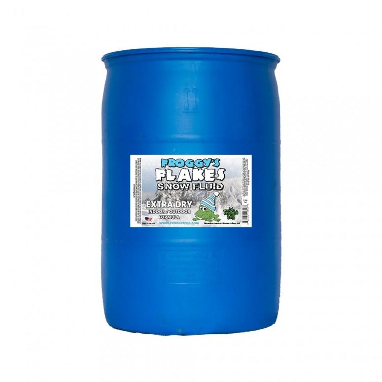 55 Gallon Drum - EXTRA DRY - OUTDOOR FORMULA - Snow Juice Machine Fluid - Froggys Flakes (30 Foot Float / Drop) Highly Evaporative Formula