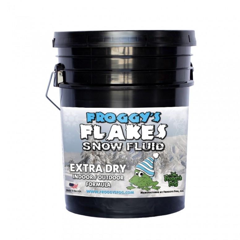5 Gallon Pail - EXTRA DRY - OUTDOOR FORMULA - Snow Juice Machine Fluid - Froggys Flakes (30 Foot Float / Drop) Highly Evaporative Formula