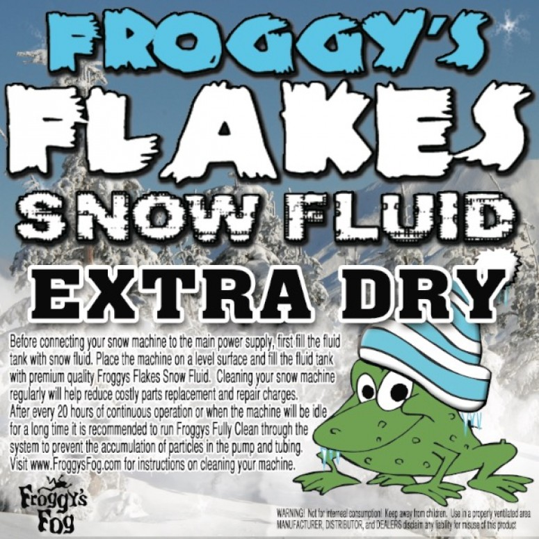 EXTRA DRY - OUTDOOR FORMULA - Snow Juice Machine Fluid - Froggys Flakes (>30 Foot Float / Drop) Highly Evaporative Formula