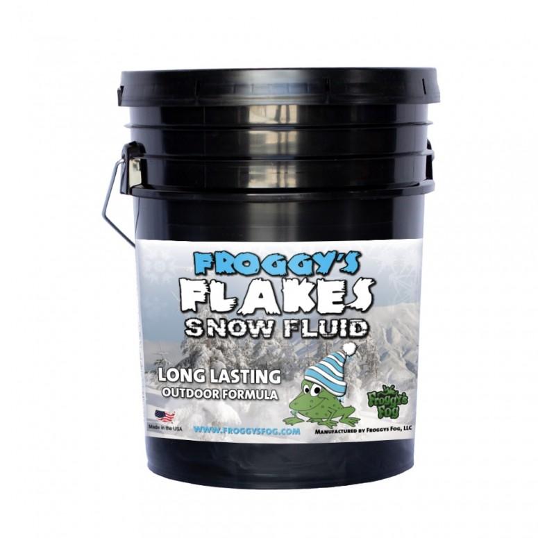 5 Gallon Pail - LONG LASTING Snow Juice Machine Fluid - Froggys Flakes (75 Foot Plus Float / Drop) Slow Evaporation Formula