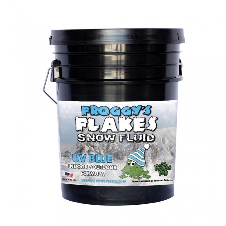 5 Gallon Pail - BLUE UV BLACKLIGHT REACTIVE Snow Juice Machine Fluid - Froggys Flakes - Evaporative Formula