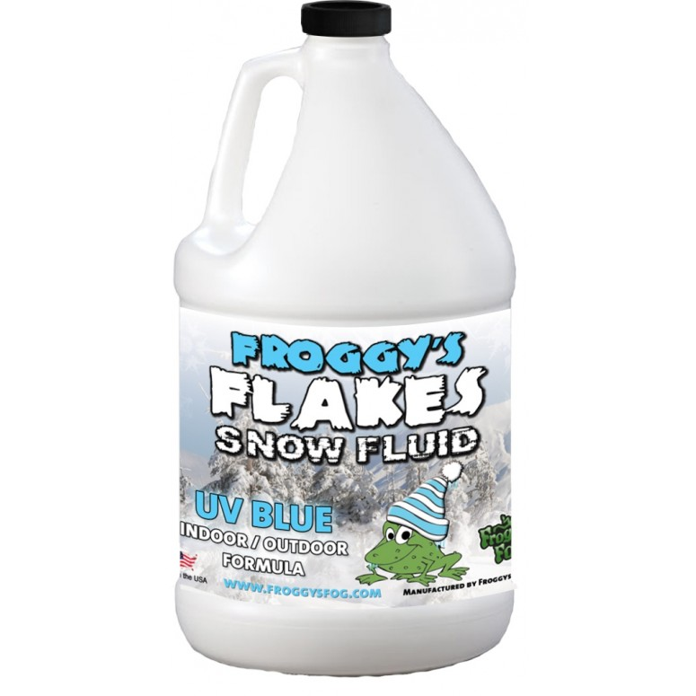 1 Gallon - BLUE UV BLACKLIGHT REACTIVE Snow Juice Machine Fluid - Froggys Flakes - Evaporative Formula