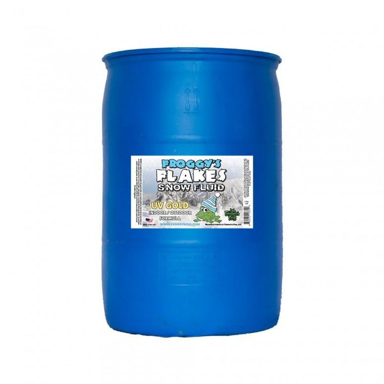 55 Gallon Drum - GOLD UV BLACKLIGHT REACTIVE Snow Juice Machine Fluid - Froggys Flakes - Evaporative Formula