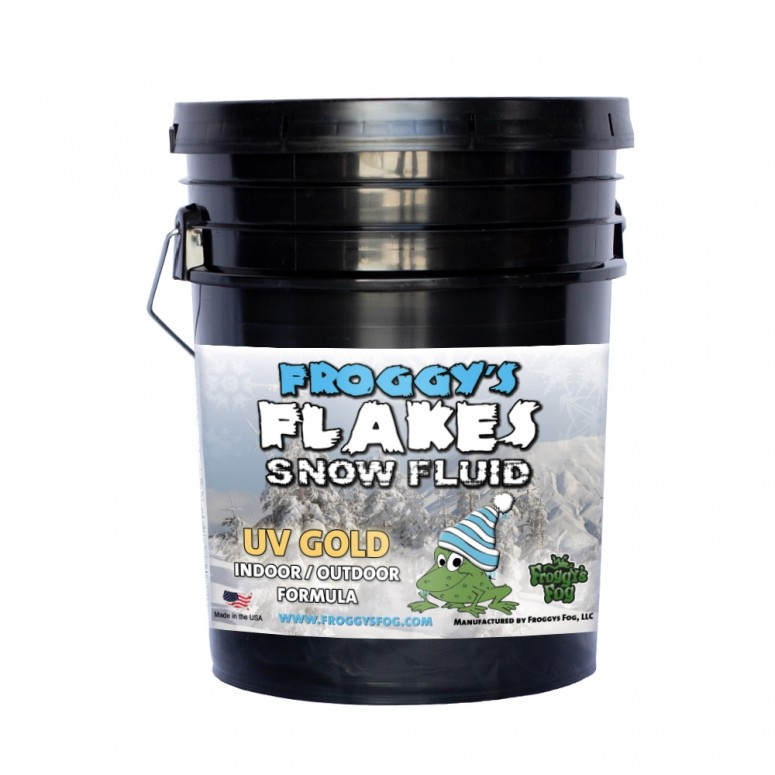 5 Gallon Pail - GOLD UV BLACKLIGHT REACTIVE Snow Juice Machine Fluid - Froggys Flakes - Evaporative Formula