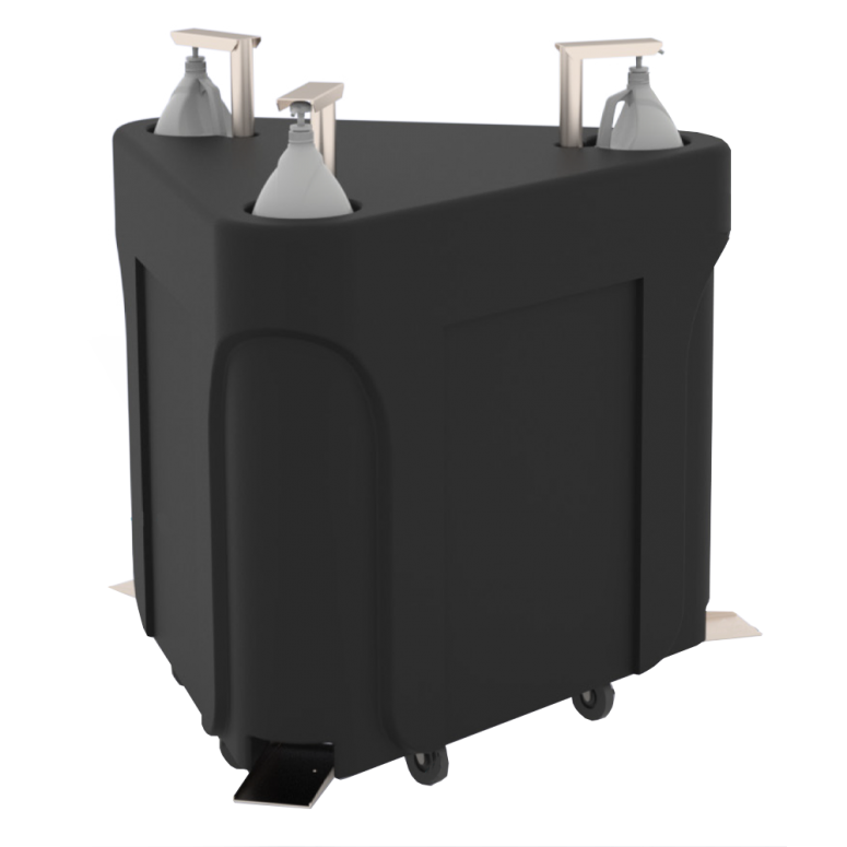 Rotomolded Triple Foot Pedal Dispenser for Froggy's Simply Sanitizer