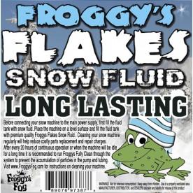 LONG LASTING Snow Juice Machine Fluid - Froggys Flakes (75 Foot Plus Float / Drop) Slow Evaporation Formula