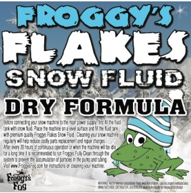 DRY Snow Juice Machine Fluid - Froggys Flakes (50-75 Foot Float / Drop) Low Residue Formula