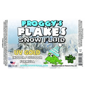 GOLD UV BLACKLIGHT REACTIVE Snow Juice Machine Fluid - Froggy's Flakes - Evaporative Formula
